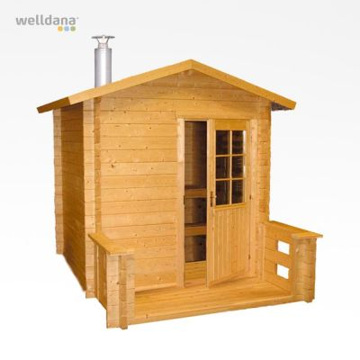 Outdoor sauna Kuikka, 2x2+0.9m with Pro20 woodburning stove