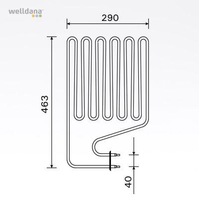 Sauna element 3000W, 230 V Terminaler i siden.